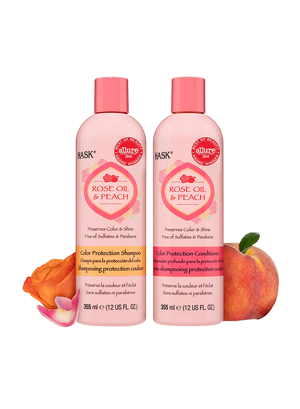 Hask Rose Oil and Peach Shampoo and Conditioner Set Color Protecting for All Hair Types, 2 Pieces