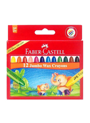 Faber-Castell Jumbo Wax Crayons, 12 Crayons, Multicolor