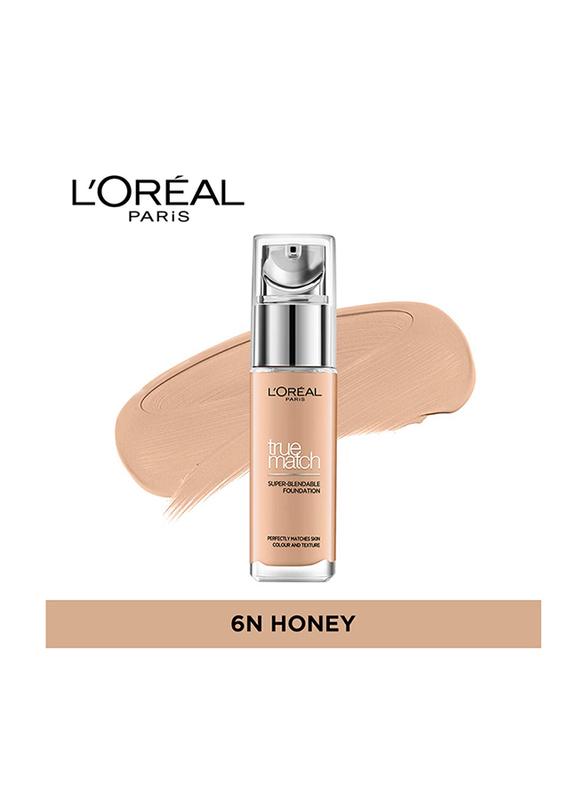L'Oreal Paris True Match Liquid Face Foundation, 30ml, Honey 6N, Beige