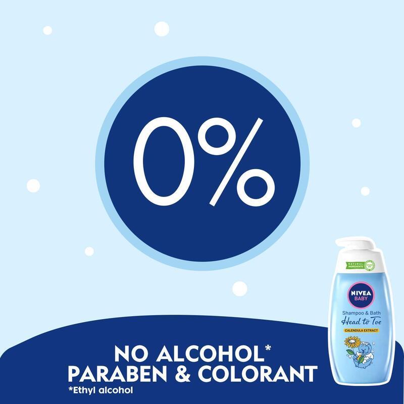 Nivea Baby 500ml Calendula Extract Shampoo and Bath for Head to Toe