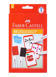 Faber-Castell 10 Creative Learning Cards with Children Erasable Markers, Multicolor