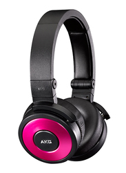AKG DJ 3.5 mm Jack On-Ear Headphones with In-Line Remote and Mic, K619DJ, Pink/Black