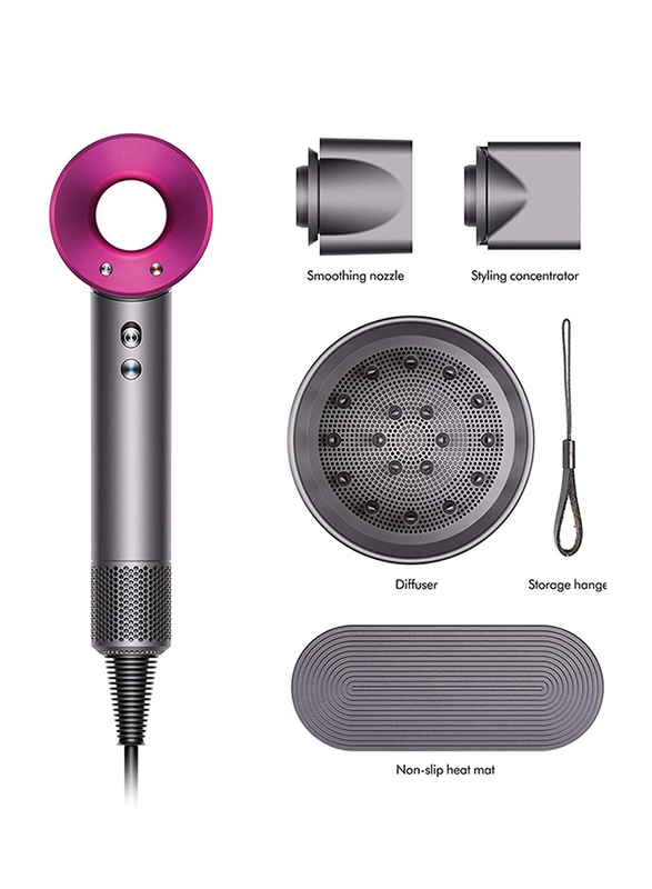 Dyson Supersonic Hair Dryer with Free Display Stand, 1600W, Iron/Fuchsia