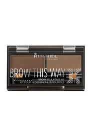 Rimmel London Brow This Way Brow Sculpting Kit, 002 Medium Brown, RM940-62, Brown