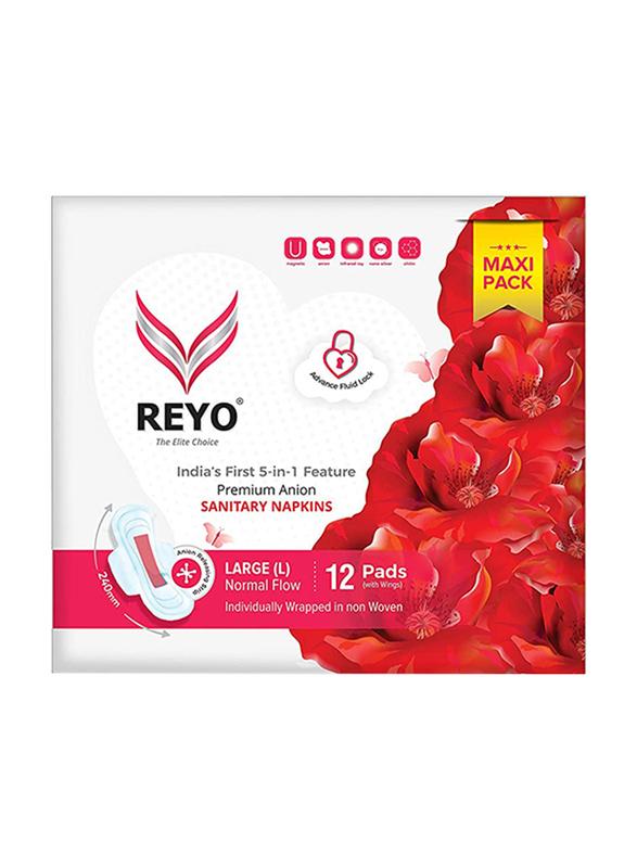 Reyo Normal Flow 240mm Sanitary Napkins, Large, 12 Pads