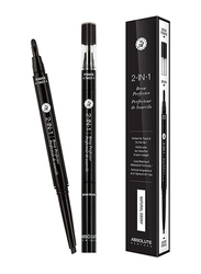 Absolute New York 2-In-1 Eye Brow Perfecter, 1.3gm, Natural Ebony, Black