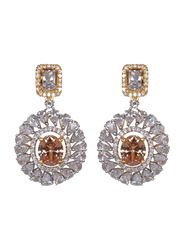 Glam Jewels Debonair Dangle Earrings for Women with Topaz Stone, Brown/Silver