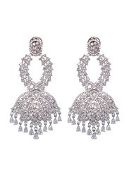 Glam Jewels The Lotus Bloom Dangle Earrings for Women, Silver