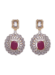 Glam Jewels Debonair Dangle Earrings for Women with Ruby Stone, Silver/Red