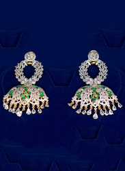 Glam Jewels The Lotus Bloom Dangle Earrings for Women with Emerald Stone, Silver/Green
