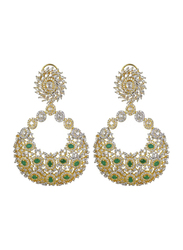 Glam Jewels Precious Dangle Earrings for Women with Emerald Stone, Green/Silver