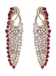 Glam Jewels Lady Luck Dangle Earrings for Women with Ruby Stone, Silver/Red