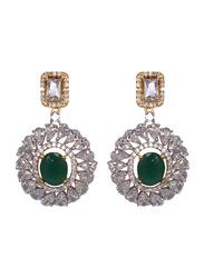 Glam Jewels Debonair Dangle Earrings for Women with Emerald Stone, Silver/Green