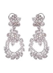 Glam Jewels Floral Power Dangle Earrings for Women, Silver