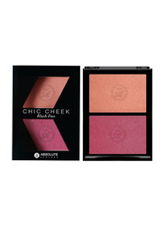 Absolute New York Chic Cheek Duo Blush, 8gm, Pinched/Flushed, Orange/Pink
