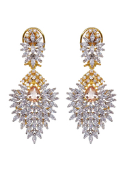 Glam Jewels The Delicate Leaf Dangle Earrings for Women, Yellow