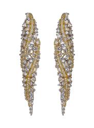 Glam Jewels Modern Twist Dangle Earrings for Women with Topaz Stone, Yellow/Silver