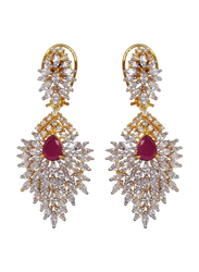 Glam Jewels The Delicate Leaf Dangle Earrings for Women with Emerald, Silver/Red