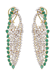Glam Jewels Lady Luck Dangle Earrings for Women, Silver/Green