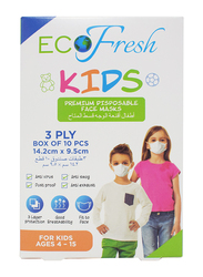 Eco Fresh Kids Premium Disposable Face Masks, 10-Pieces