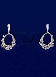 Glam Jewels Love Affair Dangle Earrings for Women, Silver