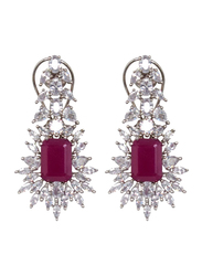 Glam Jewels Forever Love Dangle Earrings for Women with Ruby Stone, Silver/Red