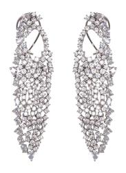 Glam Jewels Lady Luck Dangle Earrings for Women, Silver