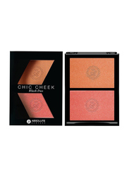 Absolute New York Chic Cheek Duo Blush, 8gm, Peach Fuzz/Coral Gold, Orange/Pink