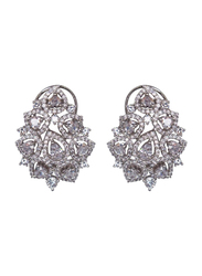 Glam Jewels The Jasmine Studs Earrings for Women, Silver