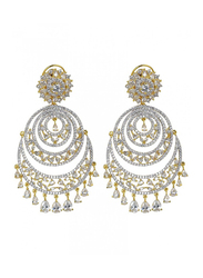 Glam Jewels Chand Dangle Earrings for Women with Topaz Stone, Silver/Yellow