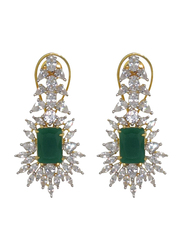 Glam Jewels Forever Love Dangle Earrings for Women with Emerald Stone, Green/Silver