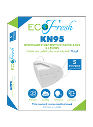 Eco Fresh KN95 5 Layers Disposable Protective Face Masks, 5-Pieces