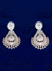 Glam Jewels The Droplets Dangle Earrings for Women, Silver
