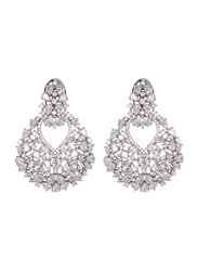Glam Jewels Diva's Dream Dangle Earrings for Women, Silver