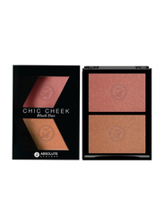Absolute New York Chic Cheek Duo Blush, 8gm, Pink Champagne/Havana Honey, Pink/Beige