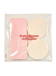Pretty Woman PF-119 Round + Square Sponge Puff, 4 Piece, Multicolour