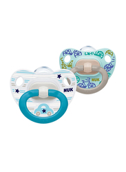 Nuk Happy Days Silicone Soother, 6-18 Months, 2 Piece, Blue