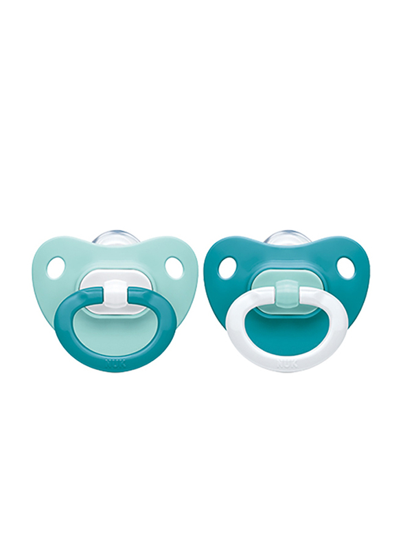 Nuk Fashion Silicon Soother, 6-18 Months, Pack of 2, Blue