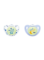 Nuk Night & Day Trendline Silicone Soother, 0-6 Months, 2 Piece, Blue