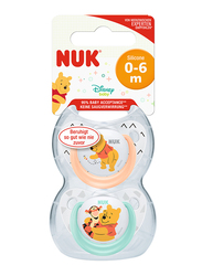 Nuk Disney Winnie Trendline Silicone Soother 0-6 Months, 2 Piece, Orange/Green