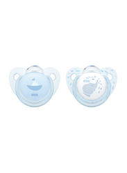 Nuk Trendline Soother, 0-6 Months, 2 Piece, Baby Blue