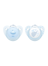 Nuk Trendline Soother, 6-18 Months 2 Piece, Baby Blue