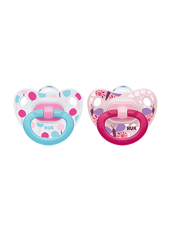 Nuk Happy Days Silicone Soother, 0-6 Months, 2 Piece, Pink