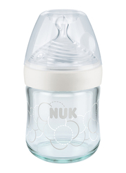 Nuk Nature Sense Glass Baby Bottle with Teat 120ml, White