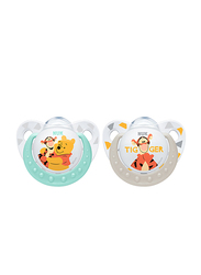 Nuk Disney Winnie Trendline Silicone Soother 0-6 Months, 2 Piece, White/Green