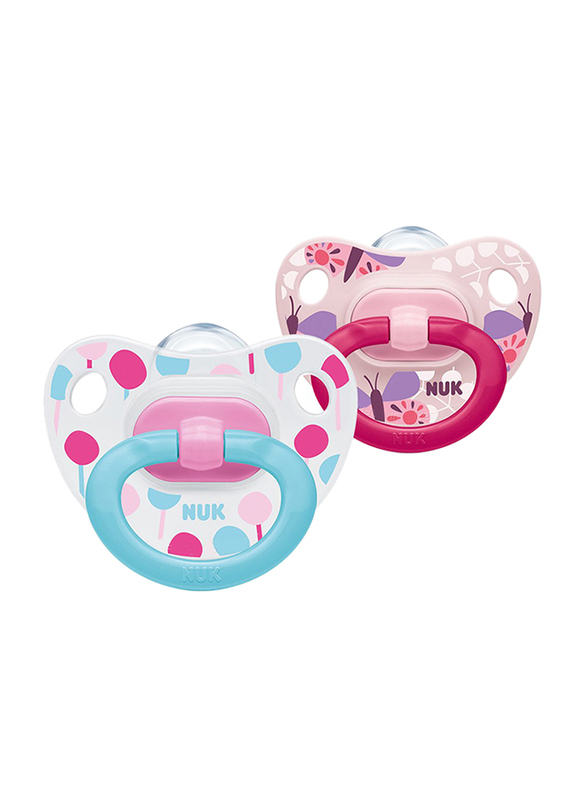 Nuk Happy Days Silicone Soother, 6-18Months, 2 Piece, Pink