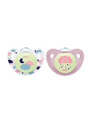Nuk Night & Day Trendline Silicone Soother, 6-18Months, 2 Piece, Pink