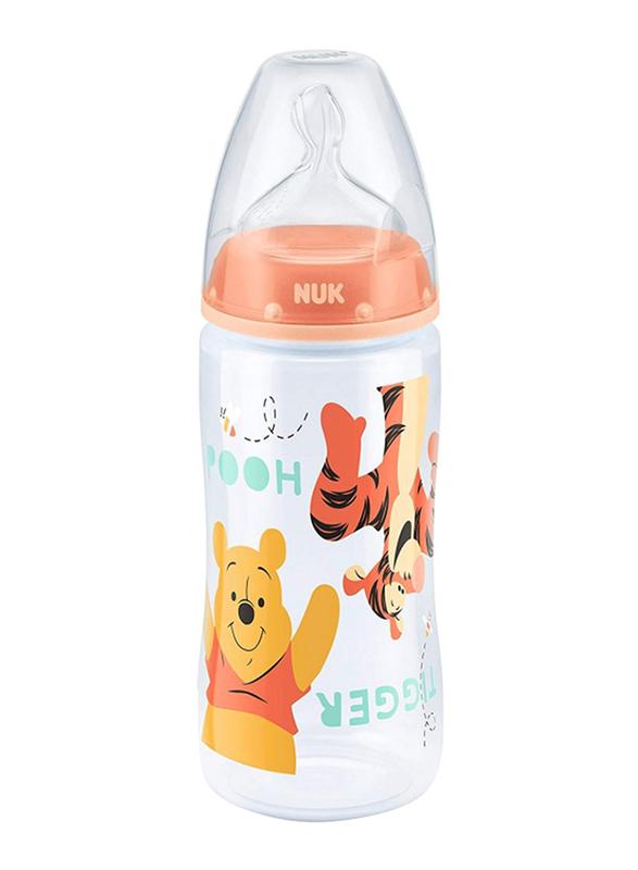 Nuk First Choice Plus Disney Winnie the Pooh Baby Bottle, 0-6 Months 300ml, Orange