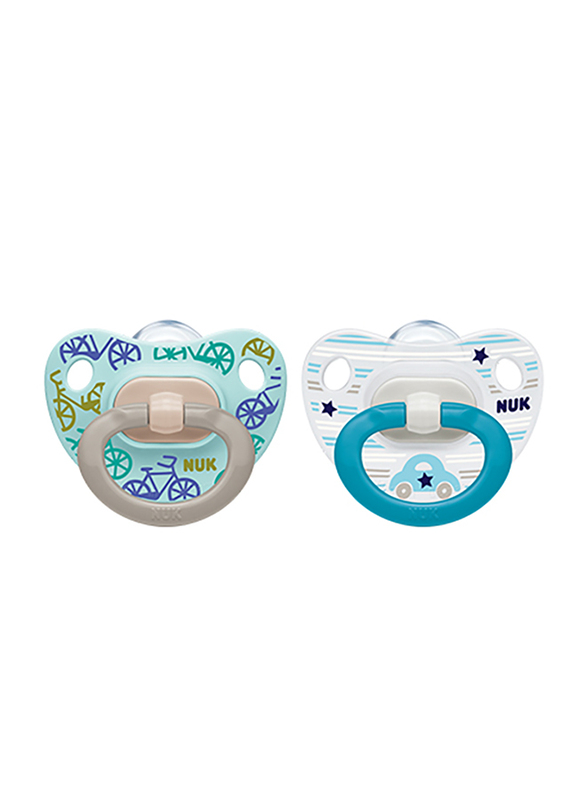 Nuk Happy Days Silicone Soother, 0-6 Months, 2 Piece, Blue