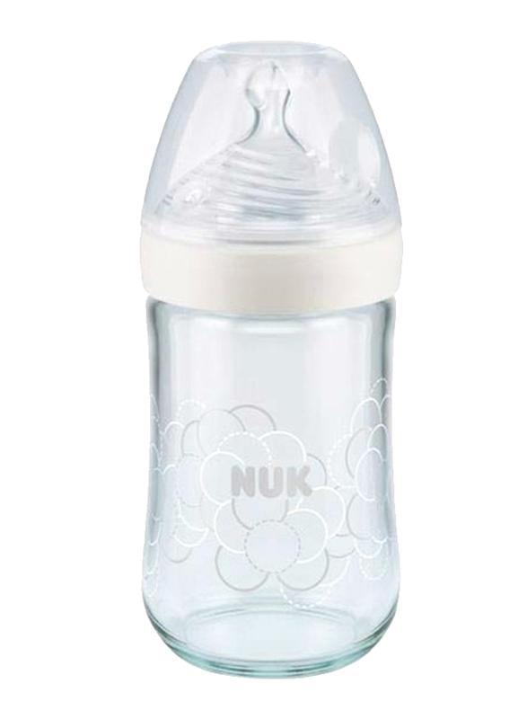 Nuk Nature Sense Glass Baby Bottle with Teat 240ml, White